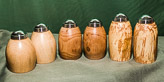 Three Salt and Peper sets - in Alder, Apple and spalted Plum.