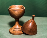 Egg and egg cup form lidded box in Mahogany.