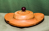 Heart shaped dish in Beech with lid in Ash, a Purple Heart knob and a decorative ring in Milliput.