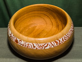 Bowl with decorated outer rim using Milliput Terracotta filler.