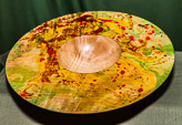 Rim marbling completed last week.  Today Allen demo'd the finishing of this marbled dish in Sycamore.