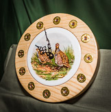 Grouse shoot themed clock with cartridge based numerals and Ash surround.
