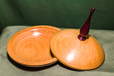 Elegant lidded dish with tall finial - in Beech and Purple Heart.