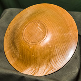 Wide rimmed dish in Maple - underside view.