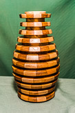 Segmented vase in Sycamore, spalted Beech and Mahogany.