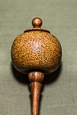 Delicate hanging decoration in Sycamore and Walnut - with hollow form and texturing.