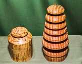 Christmas tree in Pine, plus lidded box in Spalted Ash.