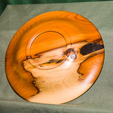 Dish in Yew - approx 8in diam.