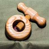 Threaded screw nut cracker in Ash with a Purple Heart inlay.