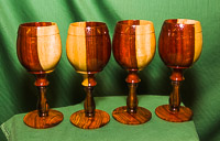 Set of goblets in Padauk, Ebony and Cocobola.