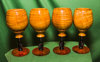 Set of goblets in Eucalyptus, Ebony and Cocobola.
