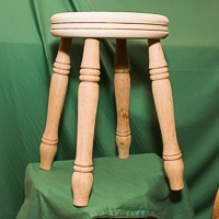 Roy demo'd turning and building this 4-legged stool.