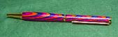Pen in coloured laminate.