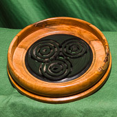 Shallow dish in Yew with contrasting lattice inlay.