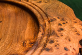 Edge detail of the large shallow platter in Burr Elm - approx 16in diam.