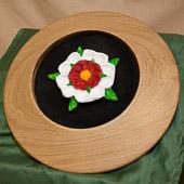 Platter with carved White Rose emblem.