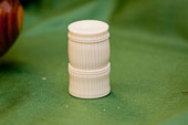 Casein Ivory box with hand threaded lid.