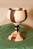 Goblet with layered and laminated woods.