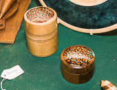 Lidded boxes with Alternative Material inlay.